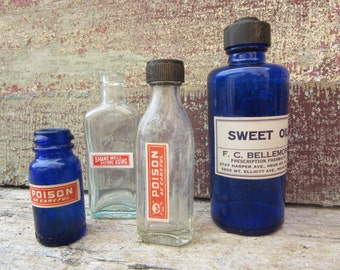 Collection of 4 Vintage & Antique Glass Bottles Blue Poison Medicine Bottle Apothecary Medical Pharmacy Bottle Vintage Glass Medicine vtg