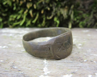 Ancient Ring Bronze Roman - Medieval Era Middle Age Crusades Antique Jewelry Size 8 1/2 Ancient Artifact Unique Gift Idea Stocking Stuffer A