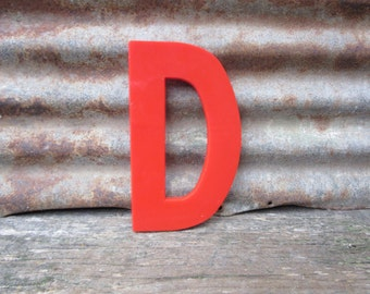 Vintage Marquee Sign Large 10 Inch Letter D Sign Red Simple Font Plastic Letter Sign Display Alphabet Spelling vtg Letters Wall Art Retro
