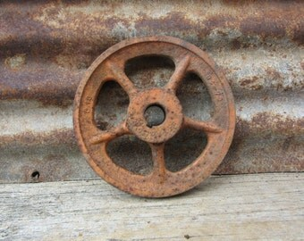 Antique Iron Wheel Industrial Painted Chippy Orange VTG Aged Rust Patina Machinery Machine Age Farm Equipment Old Factory Industrial Decor