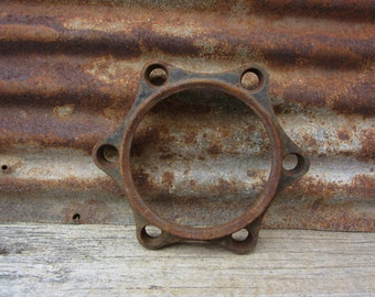 Large Vintage Pipe Flange Very Industrial Themed Decor Item Cast Iron Rusted Metal Flange with Holes Industrial Decorating USA vtg Metal