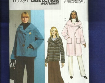 Butterick 5291 Loose Fitting Coat or Jacket with Large Shawl Collar  Sizes 8 to 14 UNCUT