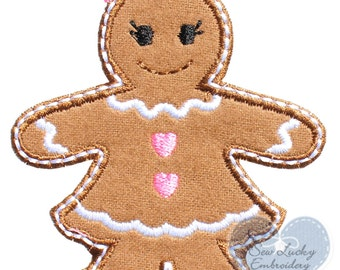 Gingerbread Girl Applique Embroidered Patch , Sew or Iron on