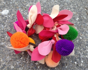 Pretty In Pink Colourful Pom Pom Elastic Hair Band / Ponytail Holders Handmade