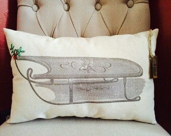 Holiday Sleigh with Holly Pillow/Holiday/Christmas
