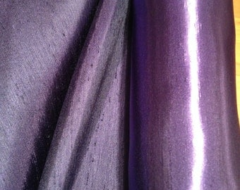 Top Quality Lavender and Navy Shot Satin Back Polyester Dupion Fabric x one yard