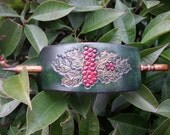 Leather Hair Barrette, Get into the Holiday Spirit with this Holly Berry Christmas Barrette....with upscale solid Walnut stick....