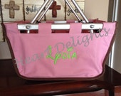 Monogrammed Baby Girl Infant Toddler Child Organizer Market Basket Tote Personalized Embroidered