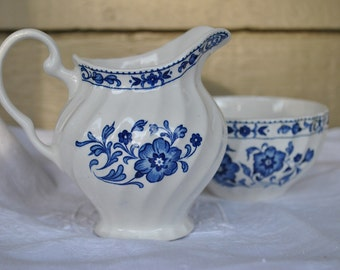 Antique English Porcelain, Cream and Sugar Set, Blue and White Porcelain, Made in England, Cottage chic decor, Farmhouse lifestyle