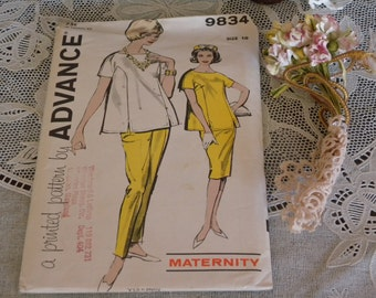 Vintage Advance 1960s Maternity Pattern for Over Blouse, Taper Pants, and Skirt