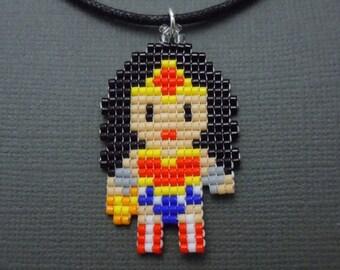 Mini Pixelated Wonder Woman Necklace