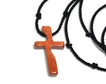 Men's Cross Pendant -  African Pink Ivory Wood - Carved Cross Necklace