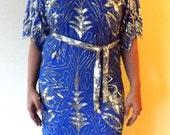 Sequin SALE--Vintage Belted Royal Blue Sequin Dress--50% off!