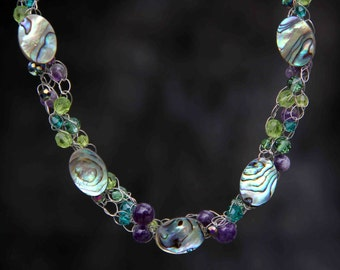 Abalone shell crocheted wiring necklace Bridesmaid gifts Free US Shipping handmade Anni designs