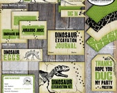 Dinosaur Excavation Kit Label - Dinosaur Excavation Party Favor - Dino Dig Birthday Party -  Fossil Party - Printable (Tag, Vintage)