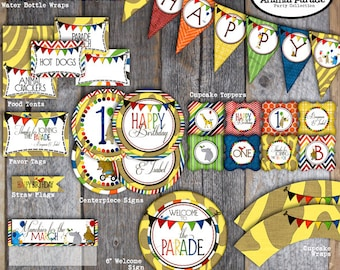 Animal Parade Decorations | Party Animal Decorations | Wild Animal Zoo | Set Kit Collection | Toppers Banner Labels Party Favors | Printable