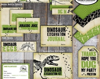 Dinosaur Food Tents | Dinosaur Excavation Food Labels | Dino Dig Birthday Party Buffet Labels | Fossil Party Food Tents | Printable