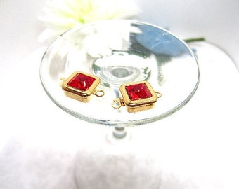 Clasp Gold Plate Square Light Siam Ruby Swarovski Stone