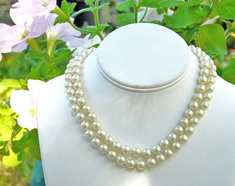 faux pearls double strand 16 inch necklace choker