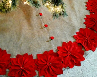 "65""  Burlap Christmas Tree Skirt with gold threads and Red poinsettias. FREE SHIPPING"