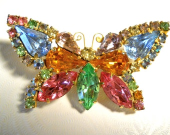 Rhinestone Butterfly Brooch Pin Colorful Pastels Vintage Figural