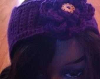 Handmade Crochet Ear-warmers with Flower Free Shipping
