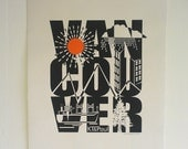KT&Paul Hand screen Printed Vancouver Typo Art Print Free Postage US and Canada