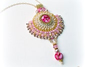 Pink, Champagne & Gold Fan  Pendant - Bead Work, Asian Styled,  Bollywood Regency - RESERVED LISTING ONLY