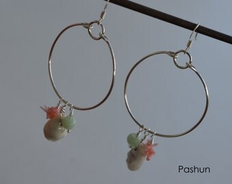 Seashell Jewelry … Shell and Coral Hoop Earrings (1271)