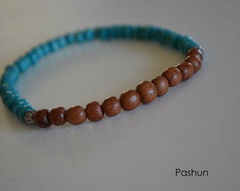 Yoga Stretch Bracelets ... Turquoise/Brown (1378)
