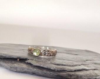 Peridot Ring - Sterling Silver and Peridot Gemstone Ring