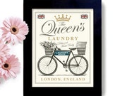Laundry Room Decor Art Print English Decor British Style Towels Linens Queen of England Laundry Sign Bedroom Art Washing Machine