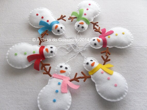 Snowman - Set of 6 Christmas ornaments
