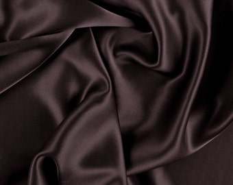 "45"" Wide 100% Silk Charmeuse Espresso Brown By the Yard"