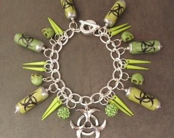 BIOHAZARD Neon Green Cyberpunk Charm Bracelet - The Walking Dead Zombie Apocalpse - Biohazard Warning Bracelet - Zombie Jewellery