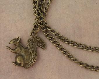 ZOMBIE APOCALYPSE Antique Bronze Squirrel Necklace