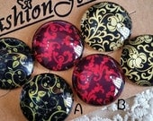 20 mm Handmade Round Shape Handmade Photo Glass Cameo Cabochons / Patterns As Per Pictures (.thn)