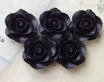 SPECIAL OFFER 21 mm Black Color Rose Resin Flower Cabochons (.am)