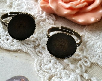 15 mm Antiqued Bronze Adjustable Ring Findings (fit for 14 mm buttons) (.tu)