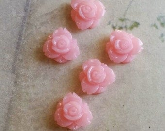 12 mm Shiny Pink Colour Resin Rose Flower Cabochons (.sm)