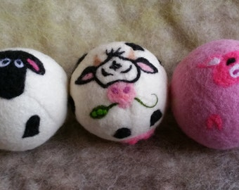 Wool Play Balls, Dryer Balls, Farm Animal, For Dogs or Play, 100% Natural, Eco Friendly, Non Toxic, Christmas Gift, Stocking Stuffer