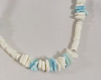 White Heishi Necklace Turquoise Blue Up Cycled