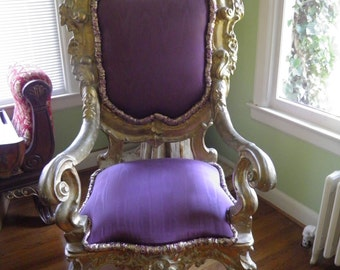 Ornate Purple Frenchy Gold Gilt Chair