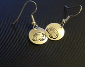Vintage Trailer Earrings Happy Camper Stamped Retro Vintage Trailer Jewelry Glamor Camping Glamping Gift For Her Handmade