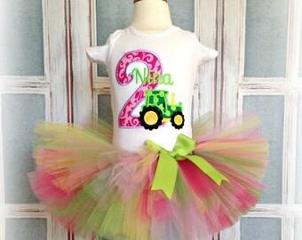 Tractor birthday outfit for girls - birthday tractor tutu outfit - farm themed birthday outfit - 1st birthday outfit - tractor tutu outfit