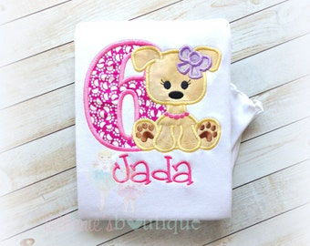 Girl's Birthday Dog Applique Shirt- Pawtay- Paw Print Number