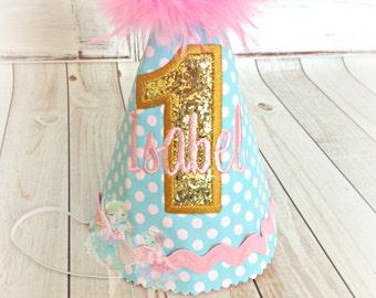 Girls birthday hat - 1st birthday hat - gold, aqua, and pink birthday hat - blue polka dot birthday hat - girls fabric birthday hat