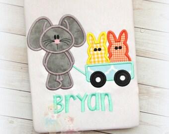Boys Easter shirt - gray bunny with wagon - 1st Easter shirt for boys- embroidered Easter shirt for boys- embroidered gray bunny with wagon
