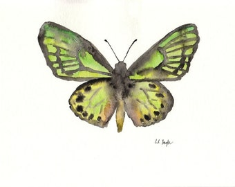 Green Watercolor Butterfly, Archival Fine Art Giclee Print,8x10, green, yellow, nature, home decor, art print, butterfly painting