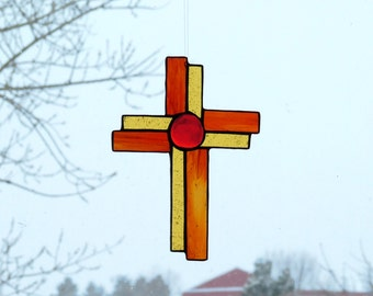 Stained Glass Red and Gold  Cross Hand-Crafted Contemporary Design -- Reduced!